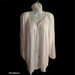 Ellos White Boho Peasant Top Blouse Lace-Up 1X